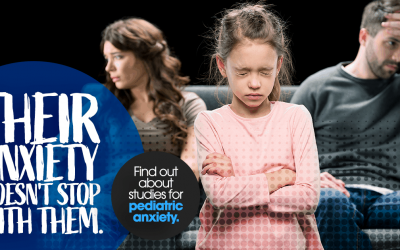 It isn't just their anxiety, couple arguing with young child closing eyes, head down, pediatric anxiety, clinical research